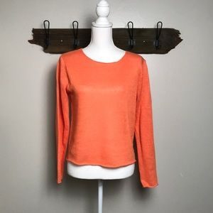Eileen Fisher Sweater 100% Linen Orange Small EUC